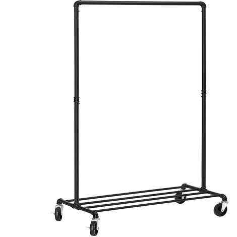 Industrial Clothes Rack on Wheels, Maximum load of 90Kg, Single Rail Metal Garment Rack, Heavy Duty with Shelf, for Bedroom Laundry, Black HSR61BK