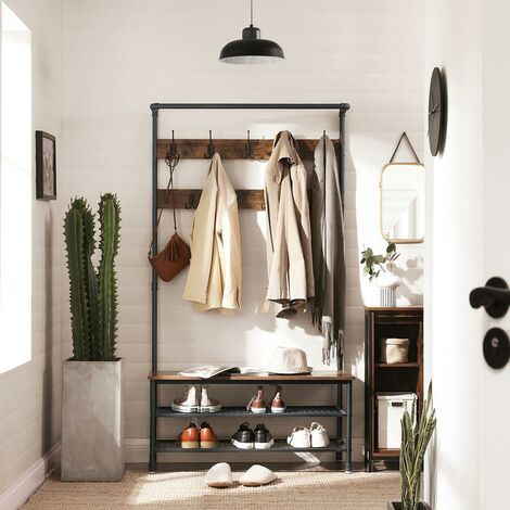 VASAGLE Industrial Coat Rack with Storage Bench, Pipe Style Large Hat and Coat Stand with 9 Hooks and Shoe Rack, Multifunctional Hall Tree, Sturdy Iron Frame, by SONGMICS HSR47BX
