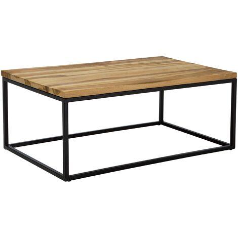 Industrial Coffee Table Metal Base Rustic Teak Wooden Top Provo