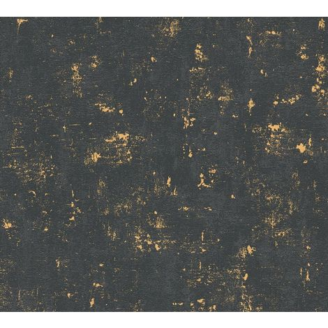 Industrial Concrete Look Vinyl Wallpaper Non-Woven Black Gold Metallic Textured