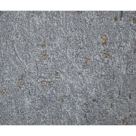 Industrial Concrete Stone Wallpaper Metallic Dark Grey Gold Textured Vinyl