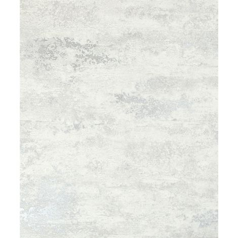 Industrial Concrete Stone Wallpaper Metallic White Silver Textured Vinyl