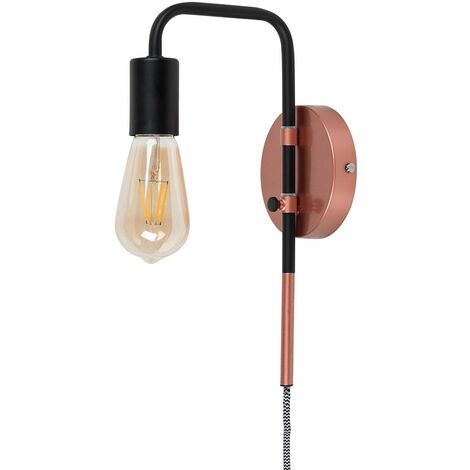 Industrial Copper & Black Plug In Swing Arm Wall Light