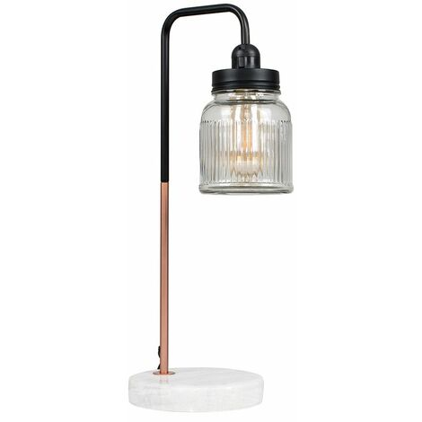 Industrial Copper Table Lamp Light White Marble Base Shades Warm White LED