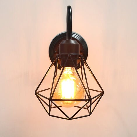 Industrial Creative Wall Lamp (Black) Cage Vintage Wall Light Diamond Retro Wall Sconce