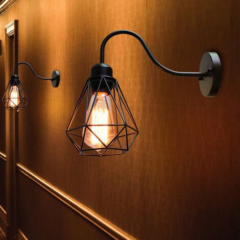 Industrial Creative Wall Lamp (Black) Cage Vintage Wall Light Retro Diamond Wall Sconce