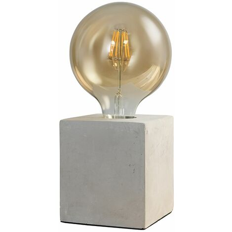 Industrial Cube Table Lamp Concrete + LED Bulb Bedside Bedroom Desk Light - Globe Warm White LED - Grey