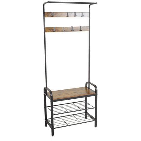 Industrial design coat rack hall tree shoe rack