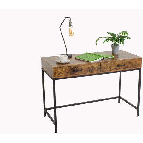 Industrial design computer desk with 2 drawers