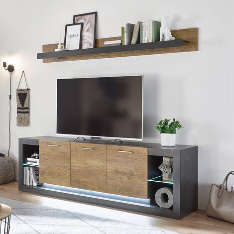 Industrial Design Lowboard & Wandregal Set TIRANA-61 in Fresco grau matt und Kastanienbraun, inkl. LED-Beleuchtung, B/H/T: 198/163/43cm