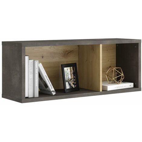 Industrial Design Wandregal INDORE-10 in Artisan Eiche Nb./Stahl dunkel, B/H/T: ca. 90,5/34,5/26 cm
