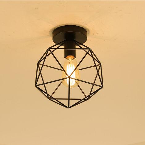 Industrial E27 Lámpara Colgante Vintage de jaula forma de diamante 25cm (Negro)Retro Lámpara de Techo Iluminación Metal Hierro (Negro)