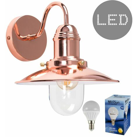 Industrial Fishermans Indoor LED Wall Light Glass Lampshade Lights - Copper