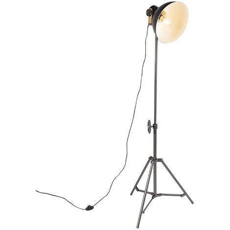 Industrial floor lamp tripod black - Mangoes