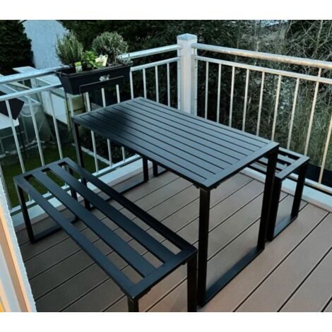 Industrial Garden Bar Set Metal Dining Table 2 Bench/Chairs Pub Patio Furniture