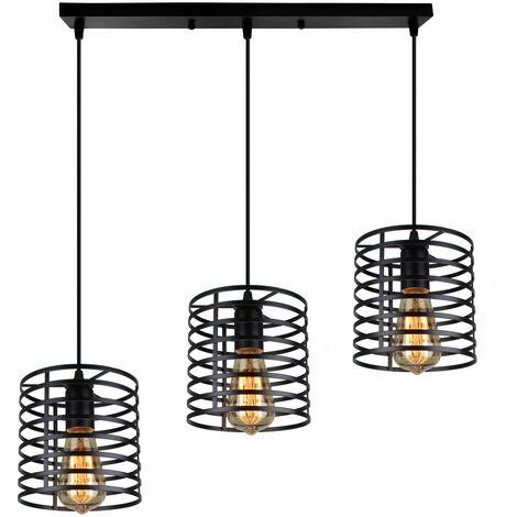 Industrial Hanging Ceiling Light 3 Lights Chandelier Vintage Pendant Light Rustic Metal Ceilling Lamp for Loft Cafe Dining Indoor Decoration Black