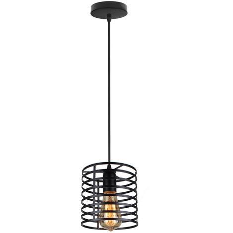 Industrial Hanging Ceiling Light Retro Pendant Light Black Metal Lampshade DIY Adjustable Chandelier Fixture for Indoor Decoration Loft Bar and Kitchen Cafe Bedroom