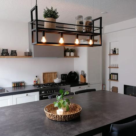 Industrial hanging lamp 4-light black - Big Cage