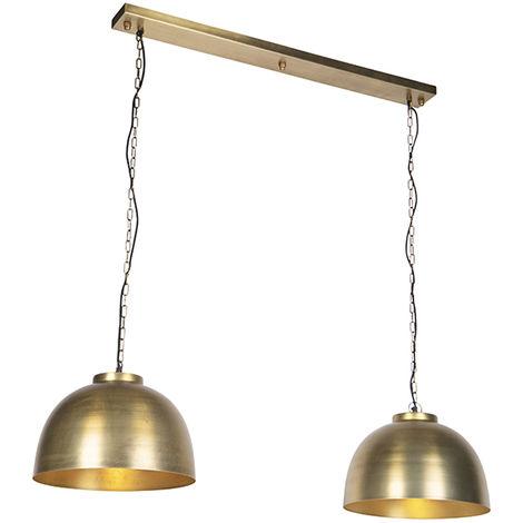 Industrial hanging lamp antique brass 2 lights - Hoodi