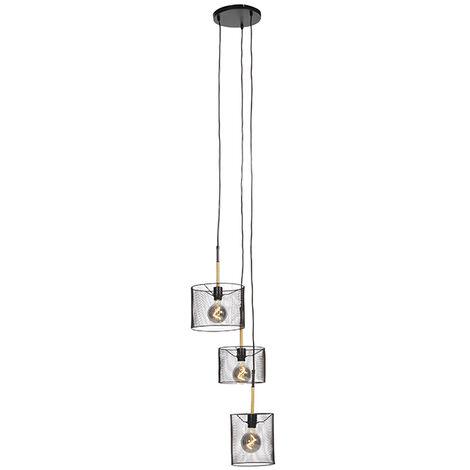 Industrial hanging lamp black 3-light - Drum Mesh
