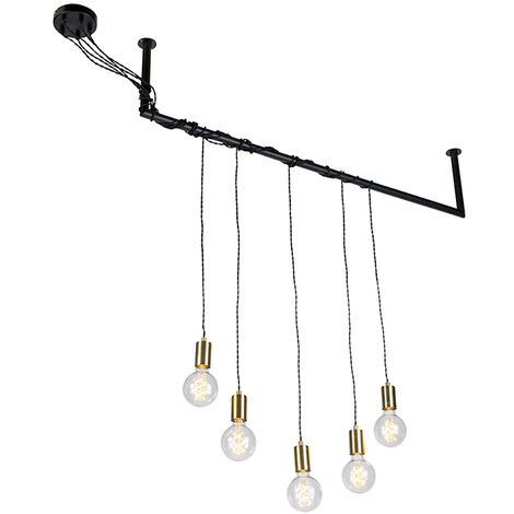 Industrial hanging lamp black with brass 5 lights - Cavoba