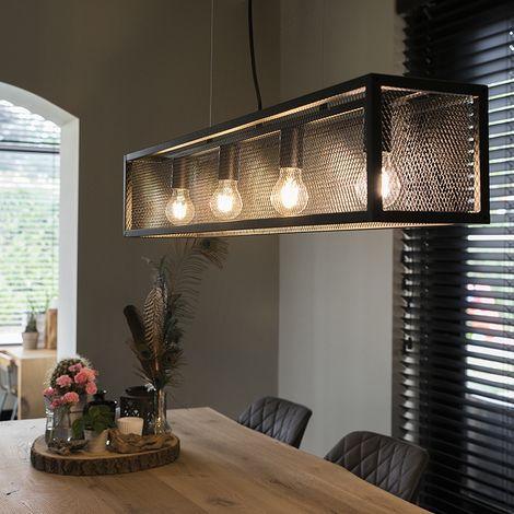 """main image of """"Modern rectangular hanging lamp black 5-light - Cage"""""""