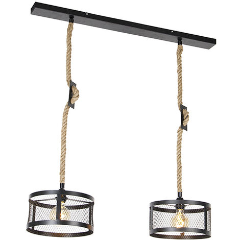 Industrial hanging lamp black with rope 2-light - Cage Robusto