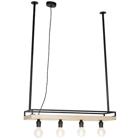 Industrial hanging lamp black with wood 4-light - Shelf