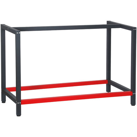 Industrial Heavy Duty DIY Steel Workbench Frame 125x57x81 cm in Anthracite and Red