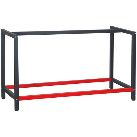 Industrial Heavy Duty DIY Steel Workbench Frame 150x57x81 cm in Anthracite and Red