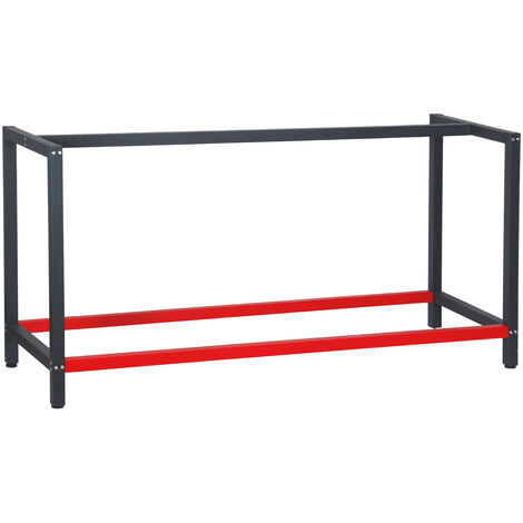 Industrial Heavy Duty DIY Steel Workbench Frame 175x57x81 cm in Anthracite and Red