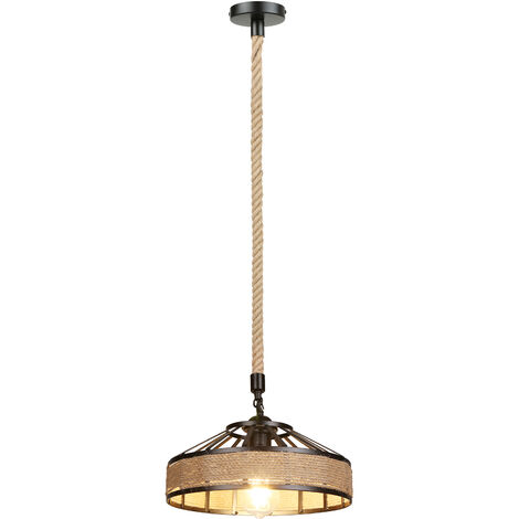 """main image of """"Industrial Hemps Rope Pendants Light Basket Rustic Chandelier Vintage Ceiling Lamp Iron Metal Lampshade Height Adjustable Suspension Light (bulb not included)"""""""