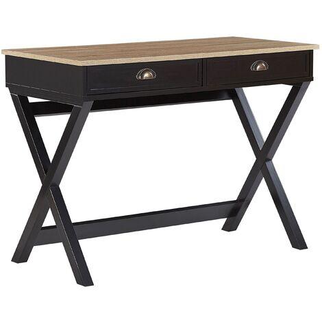 Industrial Home Office Desk Black Light Wood Cross Legs 2 Drawers Study Ekart