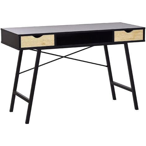 Industrial Home Office Desk Storage 2 Drawers 1 Shelf 120 x 48 cm Black Clarita
