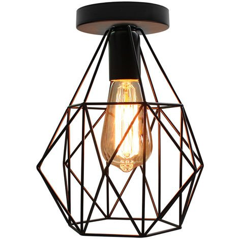 Industrial Iron Pendant Light Black Diamond Cage Ceiling Light Retro Ceiling Lamp, E27 Socket
