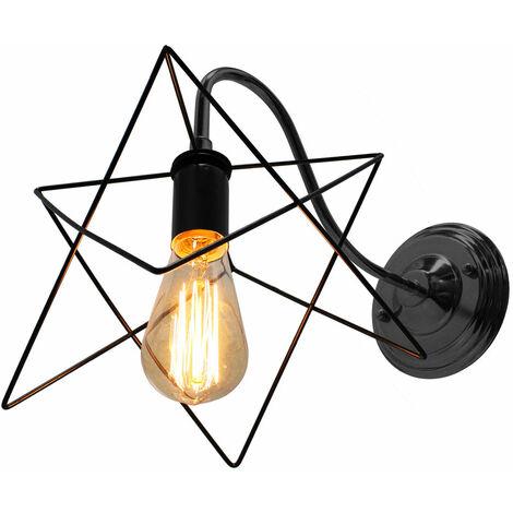 Industrial Iron Wall Light Creative Black Cage Wall Lamp Antique Retro Star Shape Wall Light E27 Socket