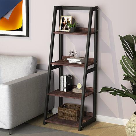 Industrial Ladder Shelf, 4-Tier Bookshelf Rack, Wall Shelf for Living Room, Kitchen, Office, Stable Steel Frame,Rustic Brown