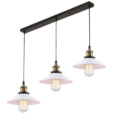 Industrial Lámpara de araña Iluminación de Techo Retro 220mm,3 E27 Vintage lámpara Edison Colgante de Luz Para restaurante dormitorio sala de estar blanco