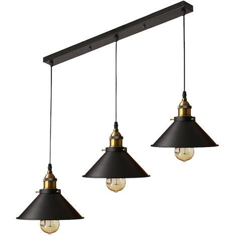 Industrial Lámpara de araña Iluminación de techo Retro 220mm,3 E27 Vintage lámpara Edison Colgante de Luz Para restaurante dormitorio sala de estar negro