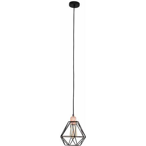 Industrial LED Pendant Ceiling Light Copper Lampholder Black Wire Frame Shade - Warm White - Copper