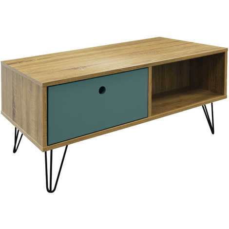 """main image of """"INDUSTRIAL - Low Coffee Table / Entertainment Storage Unit with Double Drawer - Oak"""""""