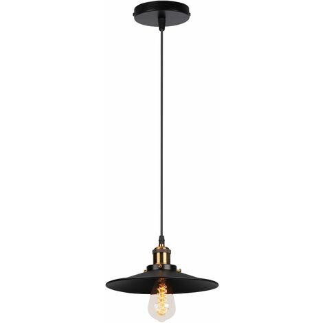 Industrial Luz Colgante Retro Luz de Techo ø22cm (Negro)Vintage lámpara Edison Colgante de Luz,Lámpara de Techo Iluminación E27 para Loft Restaurante Coffee Bar
