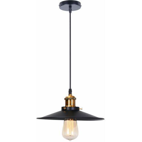 Industrial Luz Colgante Retro Luz de Techo ø26cm (Negro)Vintage lámpara Edison Colgante de Luz,Lámpara de Techo Iluminación E27 para Loft Restaurante Coffee Bar