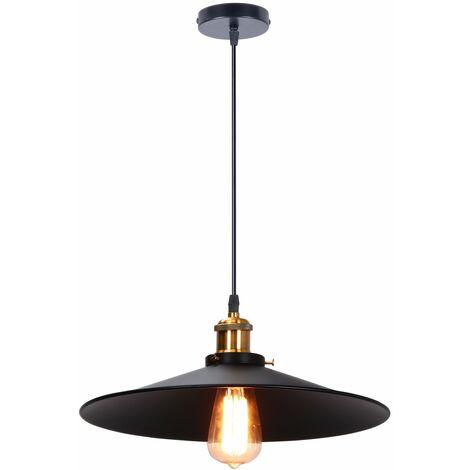 Industrial Luz Colgante Retro Luz de Techo ø36cm (Negro)Vintage lámpara Edison Colgante de Luz,Lámpara de Techo Iluminación E27 para Loft Restaurante Coffee Bar