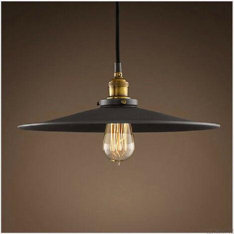Industrial Luz Colgante Retro Luz de Techo Vintage lámpara Edison Colgante de Luz, Lámpara de Techo Iluminación E27 36cm (Negro)