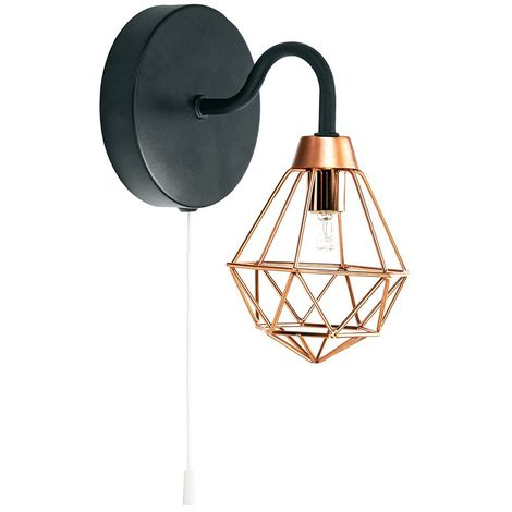 Industrial Matt Black Wall Light with Copper Plated Caged Shade and Pull Switch by Happy Homewares
