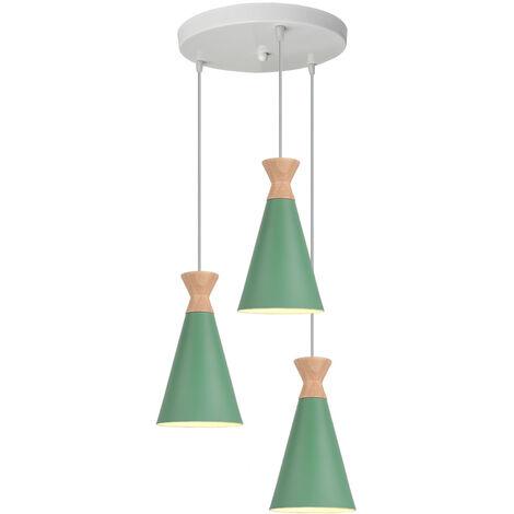 Industrial Modern Pendant Light Nordic Design Ceiling Lamp Green 3 Lights Retro Pendant Lamp for Dining Room, Kitchen, Bedroom, Office, Restaurant, E27