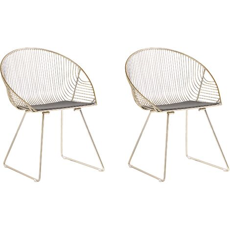 """main image of """"Industrial Modern Set of 2 Accent Chairs Dining Room Kitchen Metal Gold Aurora"""""""
