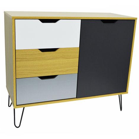 INDUSTRIAL - Modern Storage Cabinet - Beech / Multicoloured