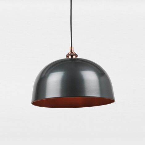 Industrial Nickel With Copper Detail Ceiling Light Fitting Dining Dome Pendant